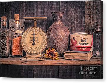 Old Vintage Kitchen Shelf Canvas Print by Edward Fielding