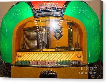 Old Vintage Rock Ola Jukebox Dsc2786 Canvas Print by Wingsdomain Art and Photography