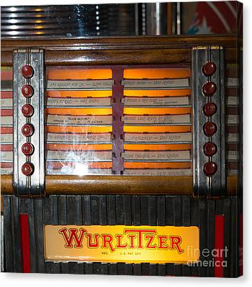 Old Vintage Wurlitzer Jukebox Dsc2706 Square Canvas Print by Wingsdomain Art and Photography