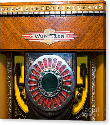 Old Vintage Wurlitzer Jukebox Dsc2809 Square Canvas Print by Wingsdomain Art and Photography
