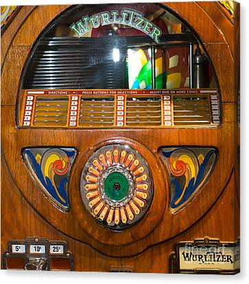 Old Vintage Wurlitzer Jukebox Dsc2824 Square Canvas Print by Wingsdomain Art and Photography