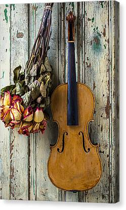 Concert Images Canvas Print - Old Violin And Dried Roses by Garry Gay