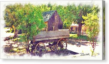 Old Wagon At Wheeler Farm Canvas Print by Stephen Mitchell