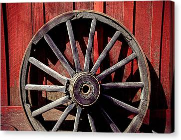 Wagon Wheels Canvas Print - Old Wagon Wheel by Garry Gay