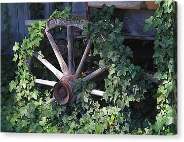 Old Wagon Wheel On The Farm Canvas Print