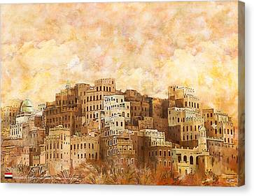 Old Walled City Of Shibam Canvas Print by Catf