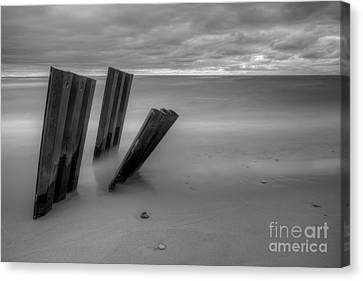 Old Walls Falling In Black And White Canvas Print