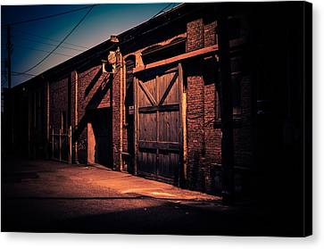 Old Warehouse Building At Night In Georgetown Seattle Canvas Print by Brian Xavier