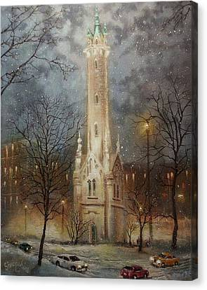 Old Water Tower Milwaukee Canvas Print by Tom Shropshire