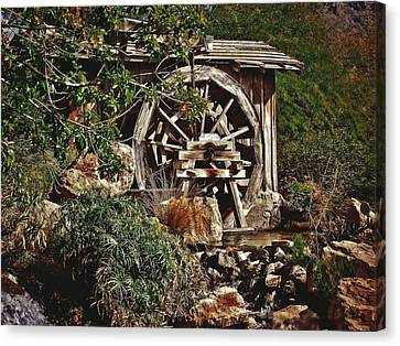 Canvas Print featuring the photograph Old Water Wheel by Elaine Malott