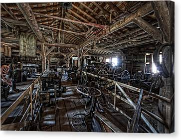 Old West Wagon Storage And Shop Canvas Print by Daniel Hagerman