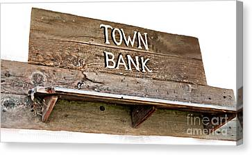 Old Western Town Bank Sign  Canvas Print