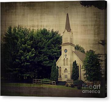 Old Country Roads Canvas Print - Old White Church by Perry Webster