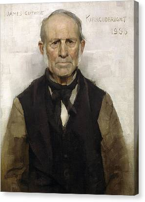Old Willie - The Village Worthy, 1886 Canvas Print by Sir James Guthrie