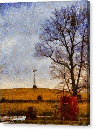 Old Windmill On The Farm Canvas Print by Dan Sproul