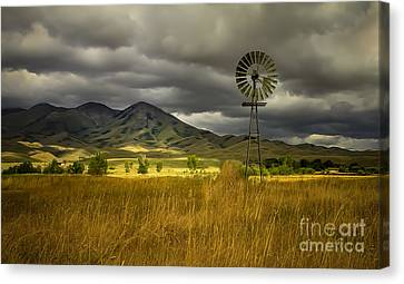Haybale Canvas Print - Old Windmill by Robert Bales