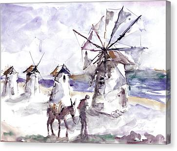 Canvas Print featuring the painting Old Windmills At Bodrum by Faruk Koksal