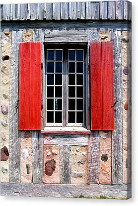 Canvas Print featuring the photograph Old Window Fort Michilimackinac Michigan by Mary Bedy