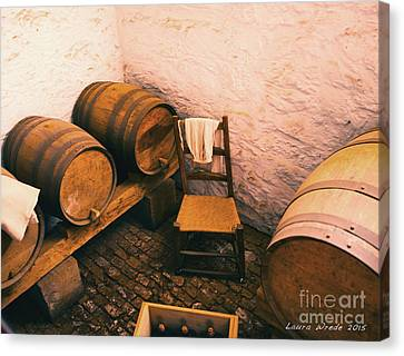 Old Wine Cellar And Kegs Monticello Virginia Canvas Print by Artist and Photographer Laura Wrede