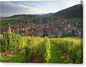 Old Wine Town Of Riquewihr Canvas Print by Peter Adams