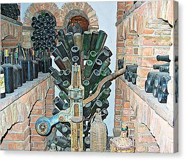Old Winemaking Stuff In Castello Di Amorosa In Napa Valley-ca Canvas Print by Ruth Hager