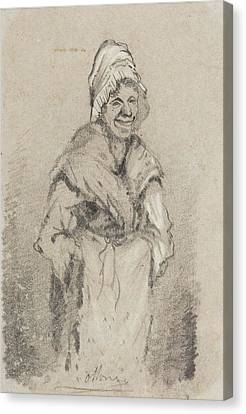 Old Woman From Normandy Full Face Pencil On Paper Canvas Print by Claude Monet