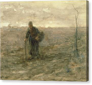 Old Woman On The Heath Canvas Print by Jozef Israels