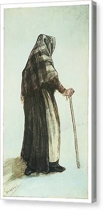 Old Woman Seen From Behind Canvas Print by Vincent van Gogh