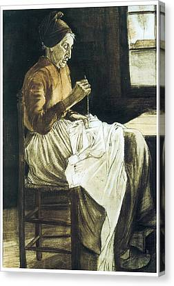 Old Woman Sewing Canvas Print by Vincent van Gogh