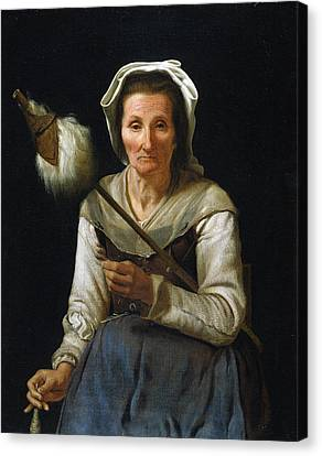 Old Woman Spinning, 1646-48 Canvas Print by Michael Sweerts