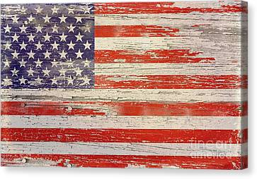 Old Wood American Glory Canvas Print by Sharon Marcella Marston