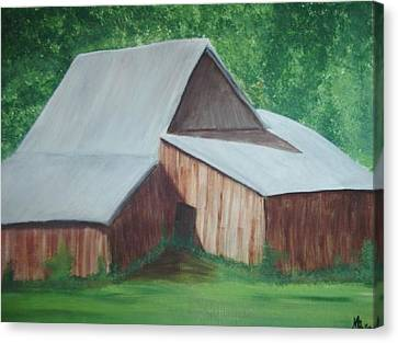 Old Wood Barn Canvas Print by Melanie Blankenship