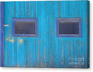 Old Wood Blue Garage Door Canvas Print by James BO  Insogna