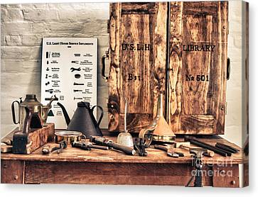 Old  Wood Workbench Canvas Print