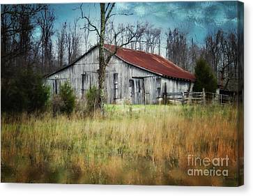 Old Wooden Barn Canvas Print by Betty LaRue