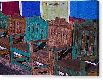 Old Wooden Benches Canvas Print