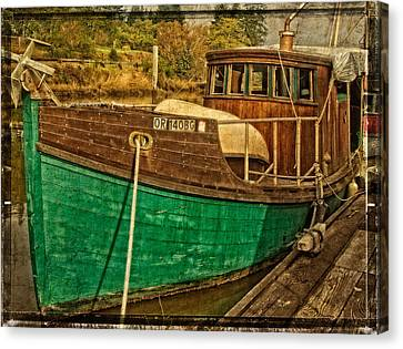 Oregon Coast Canvas Print - Old Wooden Boat On The Yaquina by Thom Zehrfeld