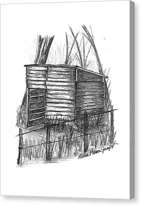 Old Shed Canvas Print - Old Wooden Shed by Diane Palmer