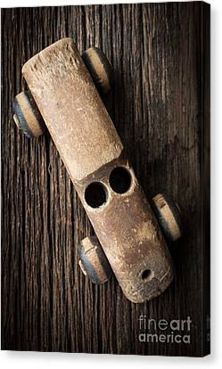 Toy Car Canvas Print - Old Wooden Vintage Toy Car by Edward Fielding