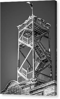 Old Wooden Watchtower Key West - Black And White Canvas Print