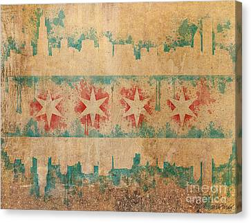Chicago Skyline Canvas Print - Old World Chicago Flag by Mike Maher