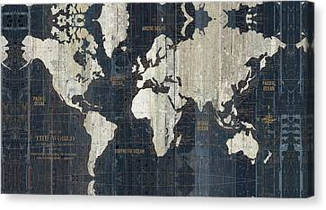 Old World Map Blue Canvas Print by Wild Apple Portfolio