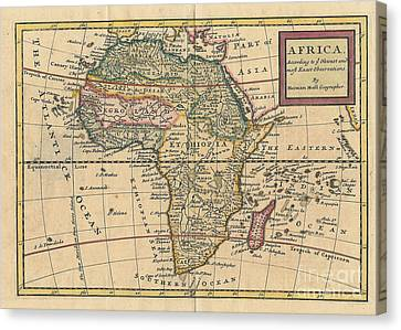 Old World Map Of Africa Canvas Print by Inspired Nature Photography Fine Art Photography