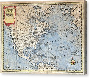 Old World Map Of North America Canvas Print by Inspired Nature Photography Fine Art Photography