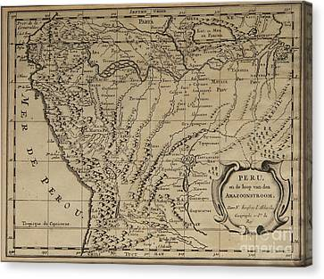 Old World Map Of Peru Canvas Print by Inspired Nature Photography Fine Art Photography