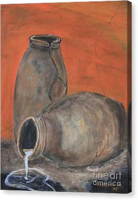Canvas Print featuring the painting Old World Pottery by Christie Minalga