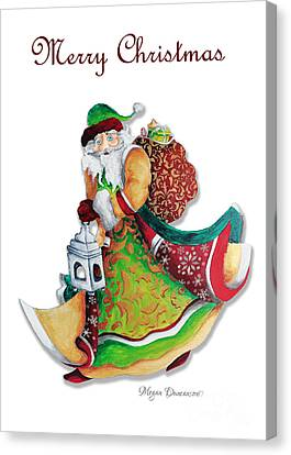 Old World Santa Christmas Art Original Painting By Megan Duncanson Canvas Print by Megan Duncanson