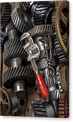 Old Wrenches On Gears Canvas Print by Garry Gay