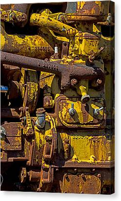 Old Yellow Motor Canvas Print by Garry Gay