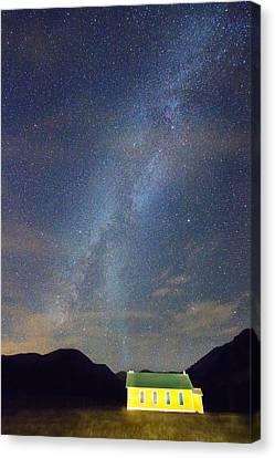 Old Yellow School House Milky Way Night Sky Canvas Print